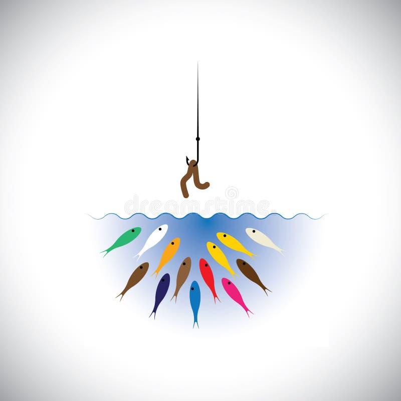 有蠕虫的钓鱼钩作为钓鱼的概念诱饵 库存例证