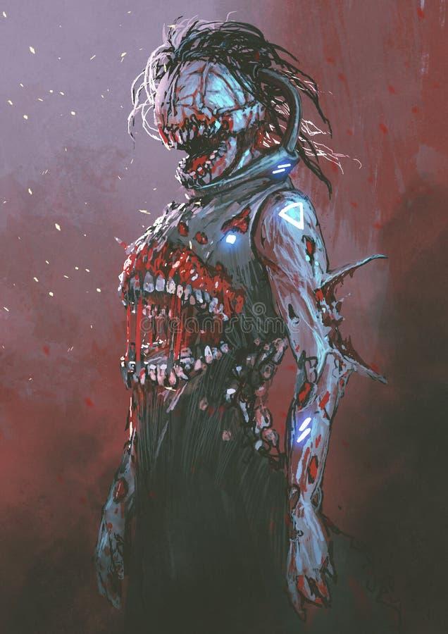 有血淋淋的嘴的蛇神在身体中间 库存照片
