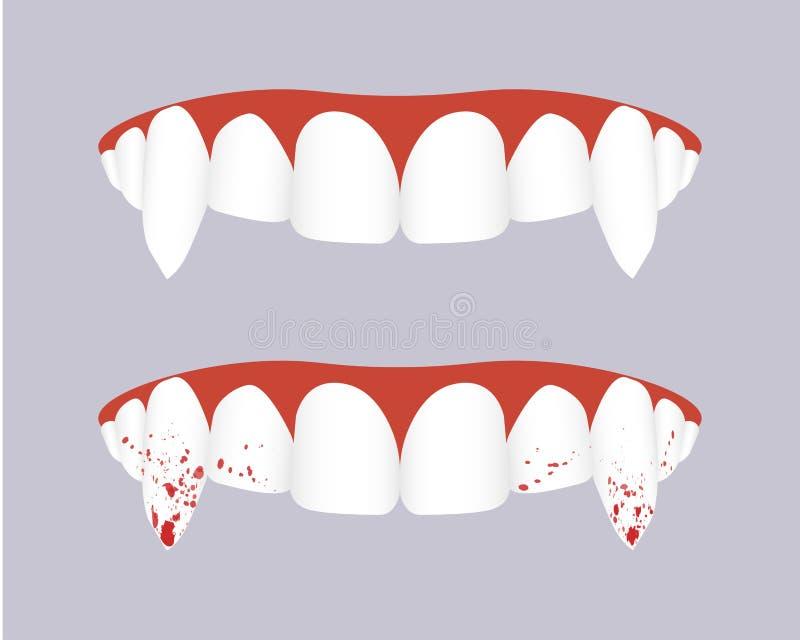 有血淋淋的犬齿的吸血鬼牙 也corel凹道例证向量 向量例证