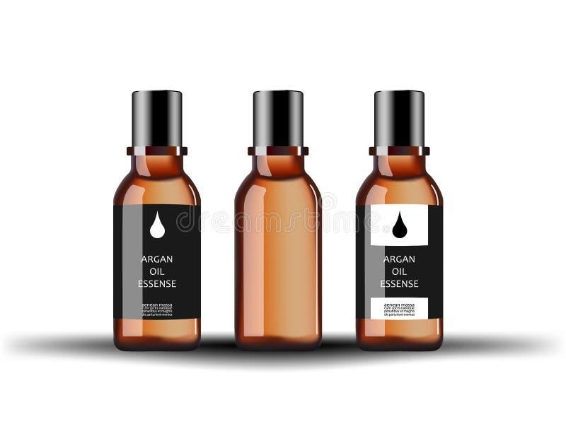 有血清圆筒芯的灯萃取物的化妆玻璃瓶用在白色背景隔绝的不同的标签 向量例证