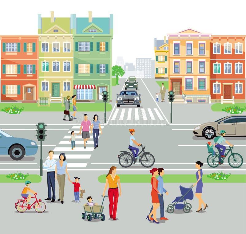 有行人交叉路和公路交叉点的城市 向量例证