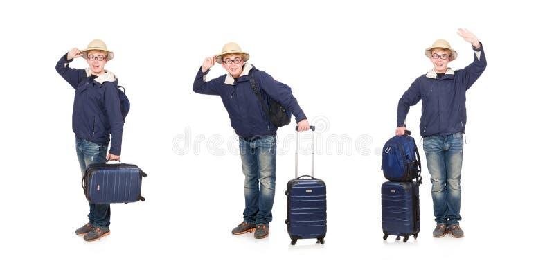 有行李佩带的徒步旅行队帽子的滑稽的人 图库摄影