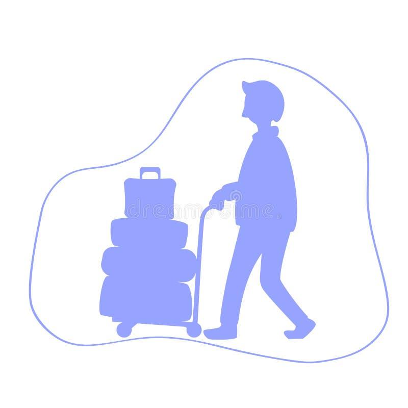有行李台车剪影例证的人 有许多旅行案件的游人 向量例证