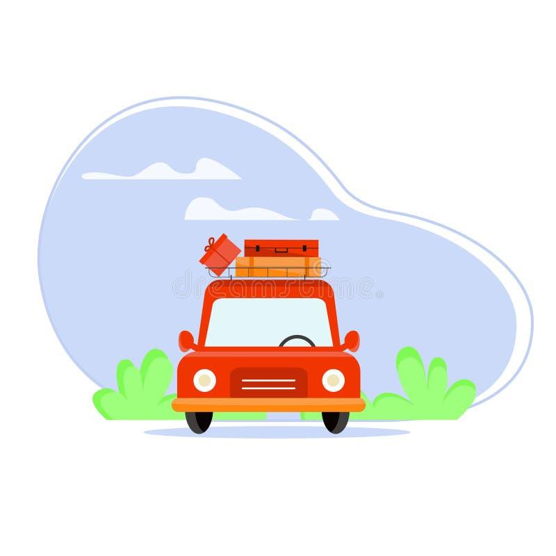 有行李架的一辆汽车 客车运载在屋顶的行李 在天空背景的车与云彩的 库存例证