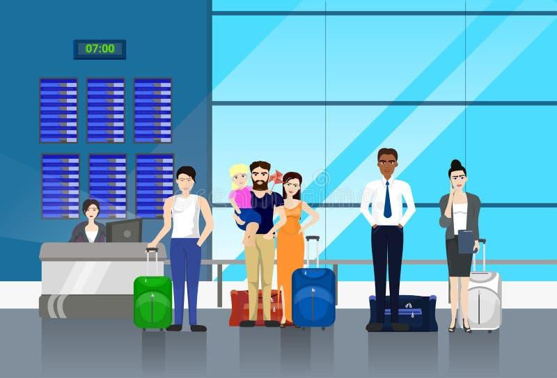 有行李的人站在队中对柜台的在机场为登记 向量例证