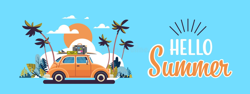 有行李的减速火箭的汽车在与字法的屋顶热带日落海滩冲浪的葡萄酒贺卡水平的横幅 向量例证