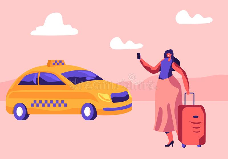有行李的年轻女人站立在街道上呼吁或使用应用程序的预定的出租汽车 女性顾客字符等待的汽车户外 向量例证
