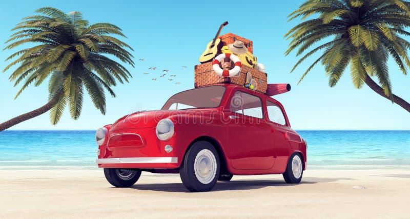 有行李的汽车在海滩的屋顶准备好在暑假 库存例证