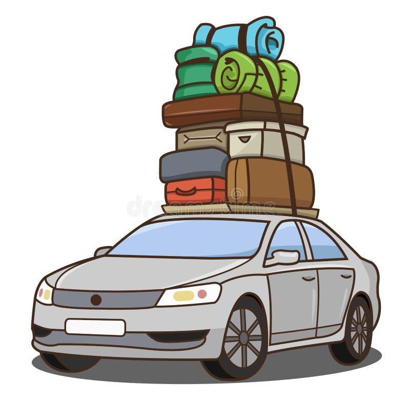 有行李的汽车 库存例证