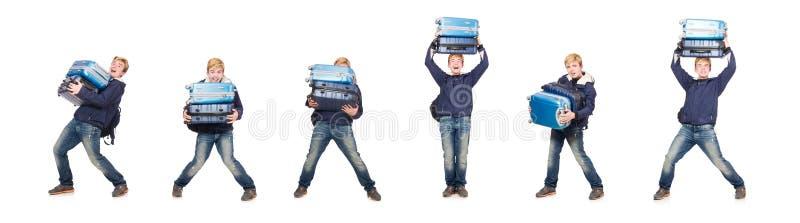 有行李的滑稽的人在白色 图库摄影