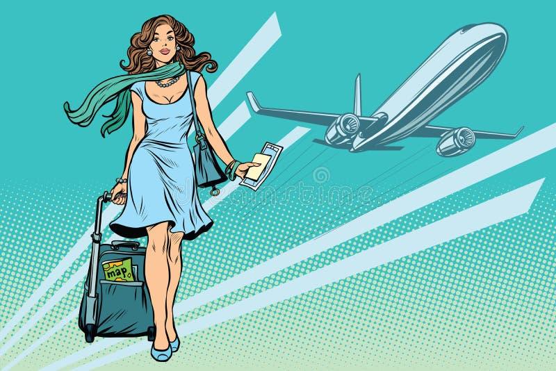有行李的美丽的少妇在机场 向量例证
