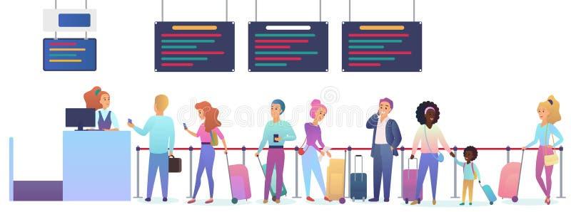 有行李等待的飞机离开的人们在机场 在报到飞行注册的男人和妇女身分 向量例证