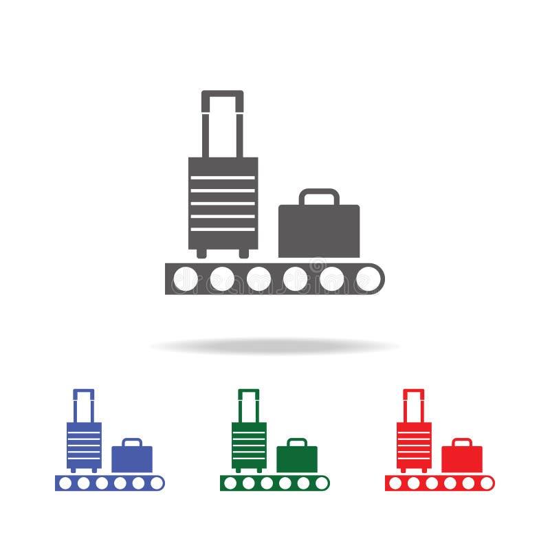 有行李象的传送带 机场多色的象的元素 优质质量图形设计象 网的简单的象 皇族释放例证