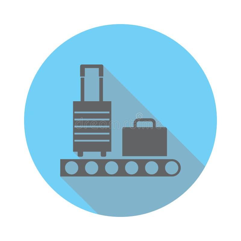 有行李象的传送带 机场的元素蓝色的平展上色了象 优质质量图形设计象 简单的象f 库存例证