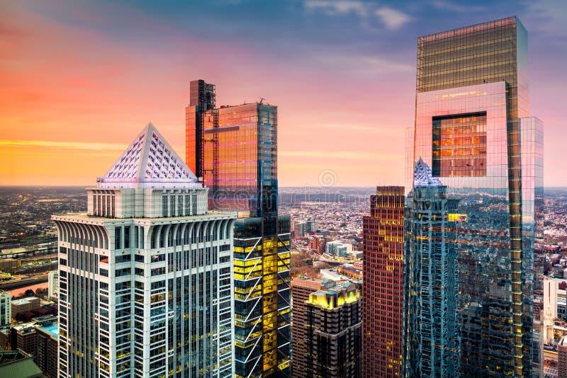 有街市摩天大楼的费城天线 免版税库存照片