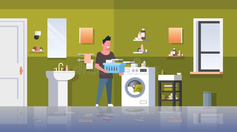 有衣服提袋身分的人在做家事洗衣房现代卫生间内部男性的洗衣机人附近 库存例证