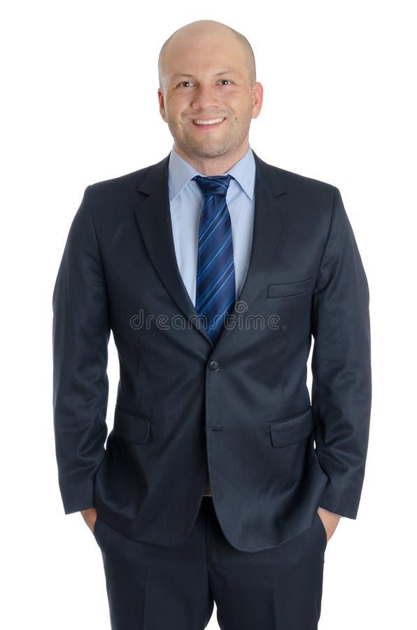 有衣服的秃头人和领带的白色背景 免版税库存图片
