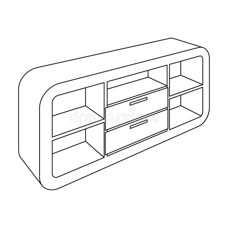 有衣物柜和碗柜的木内阁 电视立场 卧室家具唯一象在概述样式传染媒介标志库存 库存例证