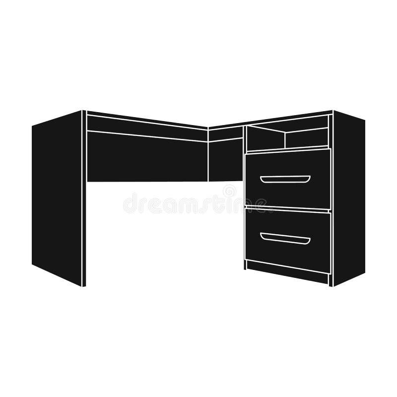 有衣物柜的灰色书桌 文书工作的书桌 工作场所和工作,办公室,运作的标志 卧室家具唯一象 向量例证