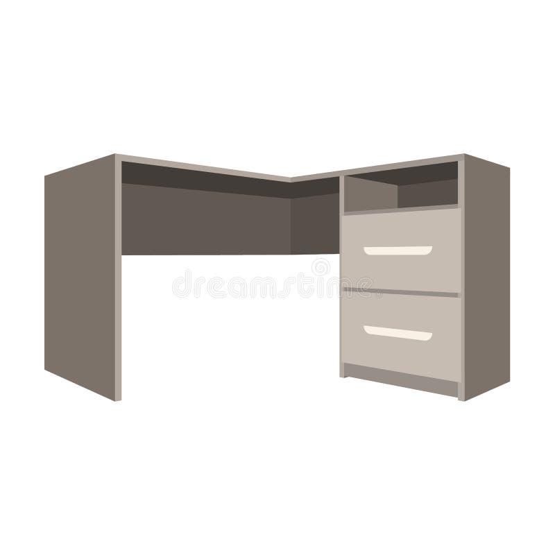 有衣物柜的灰色书桌 文书工作的书桌 工作场所和工作,办公室,运作的标志 卧室家具唯一象 库存例证