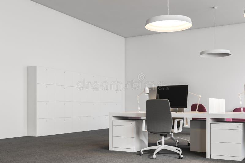有衣物柜的白色办公室工作场所 库存例证