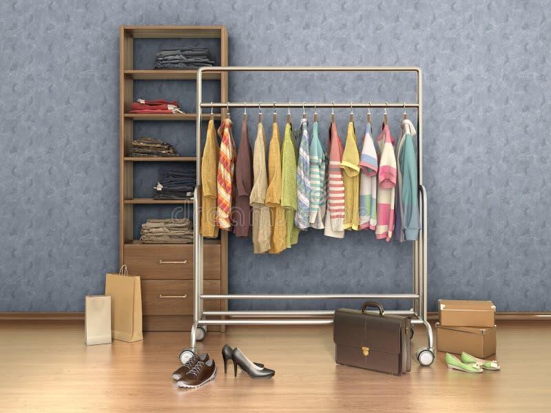 有衣裳、架子、箱子和鞋子的室, 库存例证
