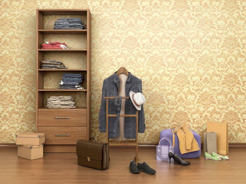 有衣裳、碗柜、箱子和鞋子的室, 向量例证
