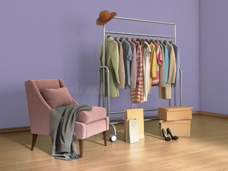 有衣裳、袋子、箱子和鞋子的室 库存例证