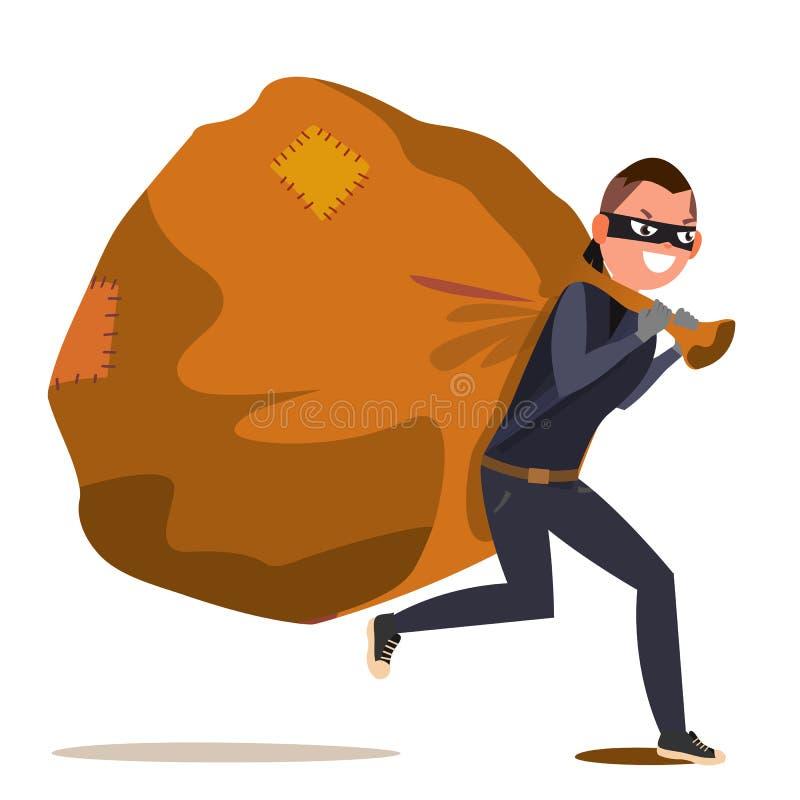有袋子传染媒介的匪盗 被隔绝的平的漫画人物例证 库存例证