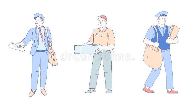 有袋子和信件信封传染媒介邮递员或岗位官员的交付快速的服务邮差 皇族释放例证
