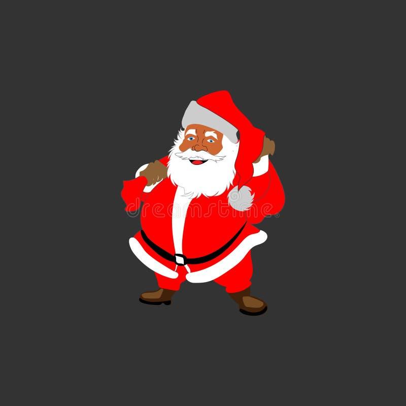 有袋子和盖帽的圣诞老人 库存照片