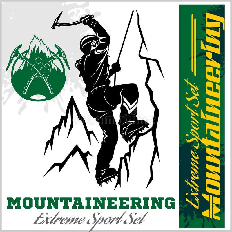 有袋子的人在冰岩石 极端户外运动 攀登山 也corel凹道例证向量 向量例证
