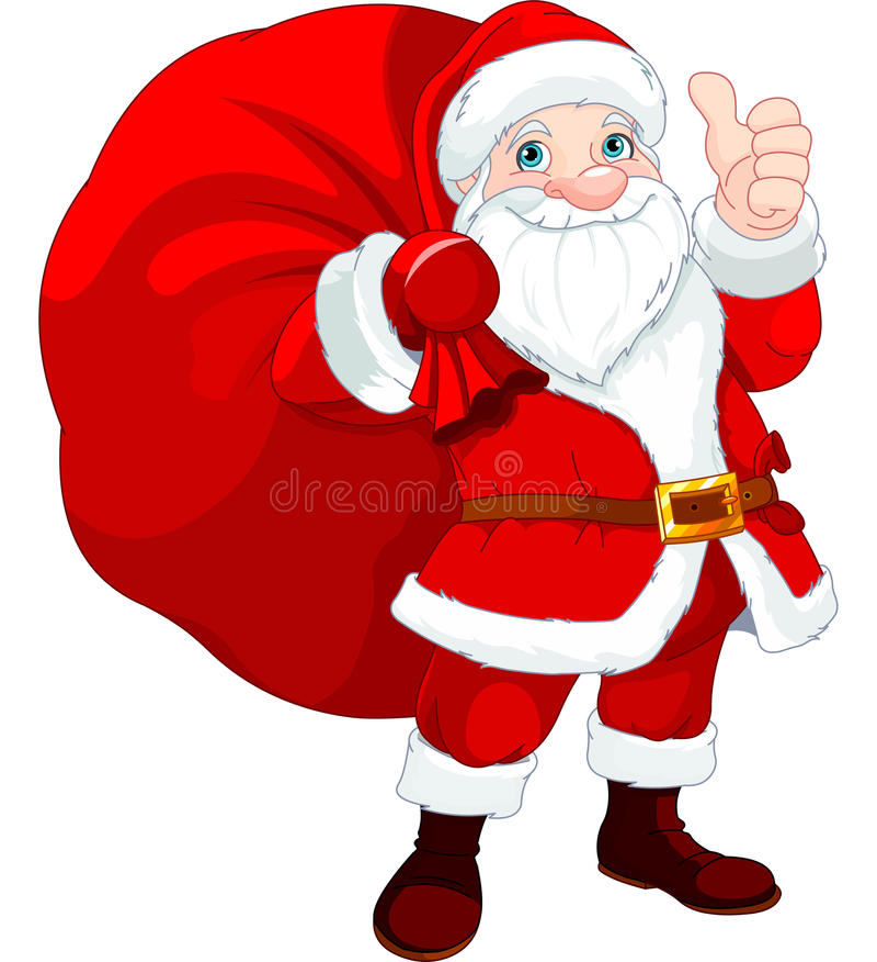 有袋子的圣诞老人 库存例证
