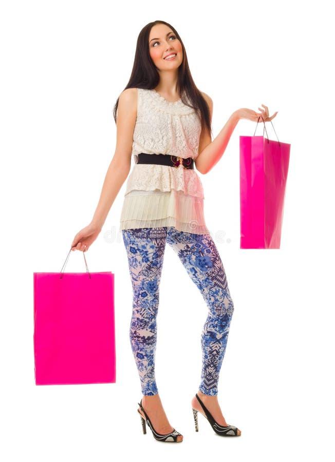 有袋子的女孩 免版税库存图片