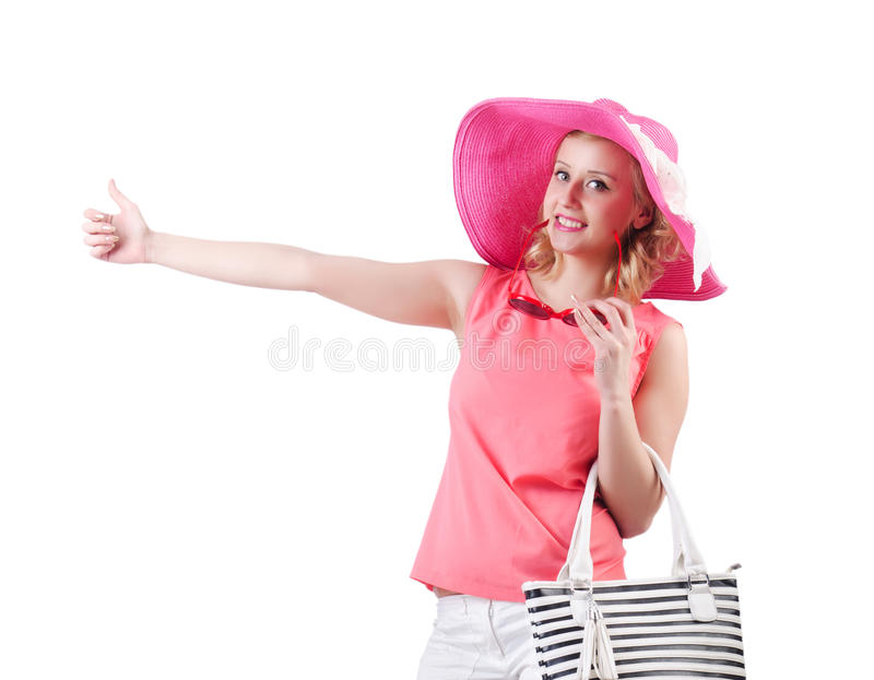有袋子的妇女 库存图片