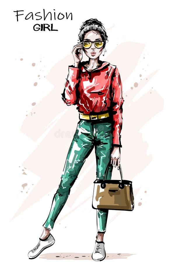 有袋子的手拉的美丽的少妇 时髦的典雅的女孩成套装备 塑造太阳镜妇女 皇族释放例证