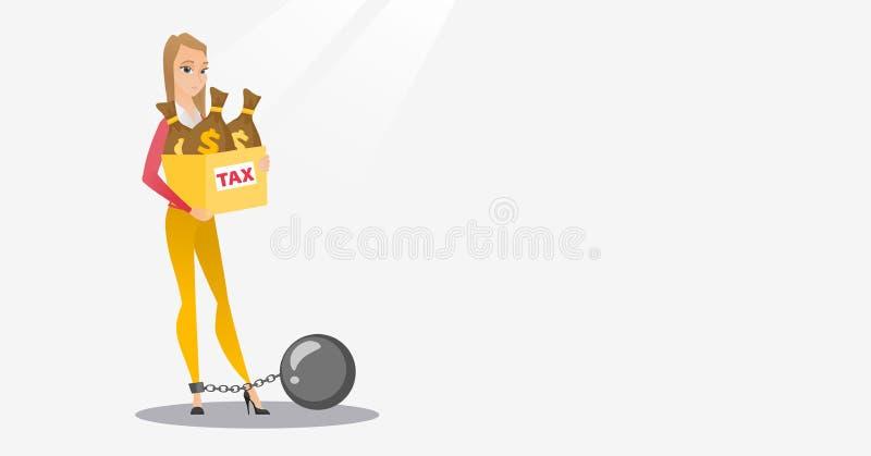 有袋子的被束缚的妇女有很多税 库存例证