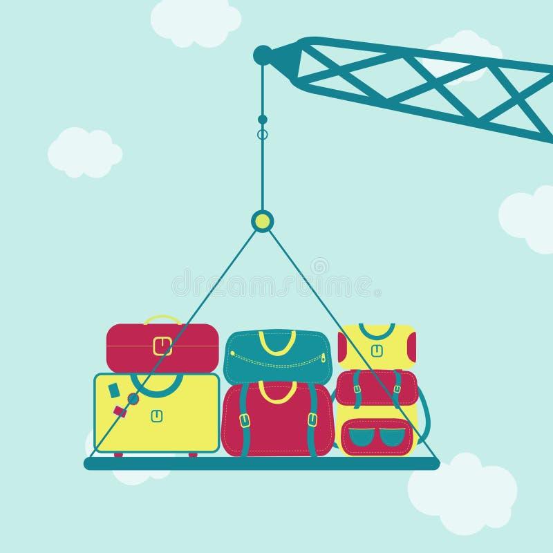 有袋子的起重机 向量例证