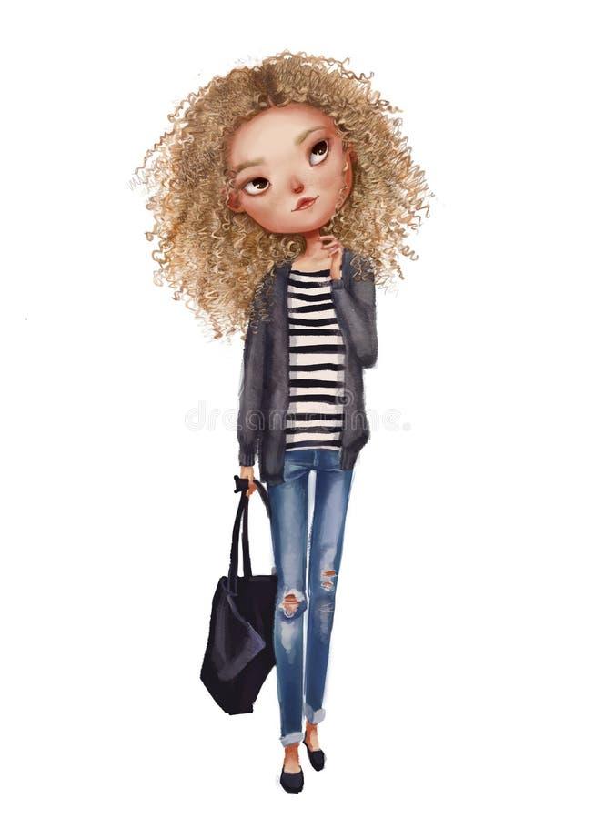 有袋子的逗人喜爱的白肤金发的女孩 免版税库存照片