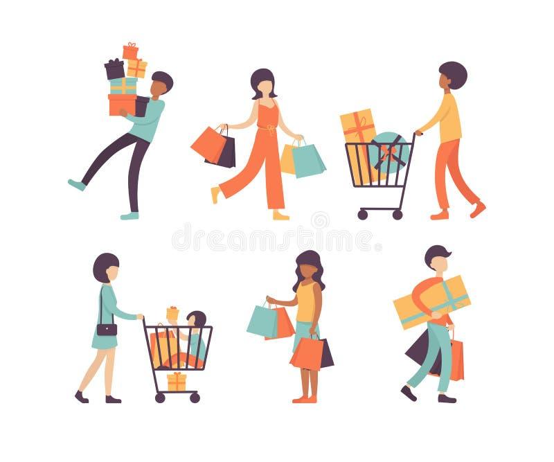 有袋子的集合,汇集购物的人 向量例证