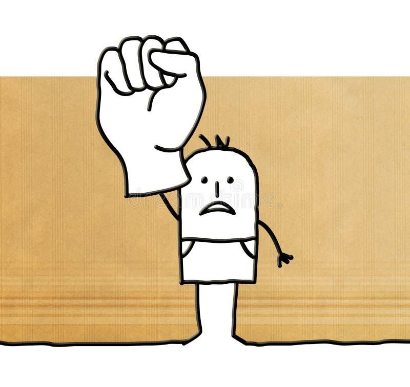 有被举的拳头的动画片人 皇族释放例证