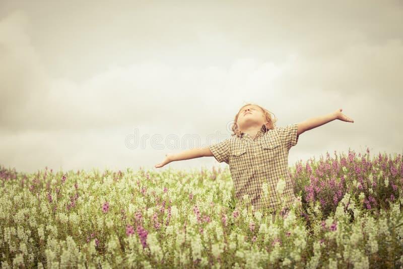 有被举的胳膊的愉快的小孩在花的绿色领域 免版税图库摄影