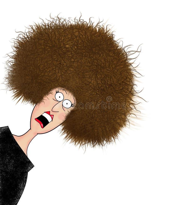 有被使充电的头发的滑稽的磨破的妇女 皇族释放例证