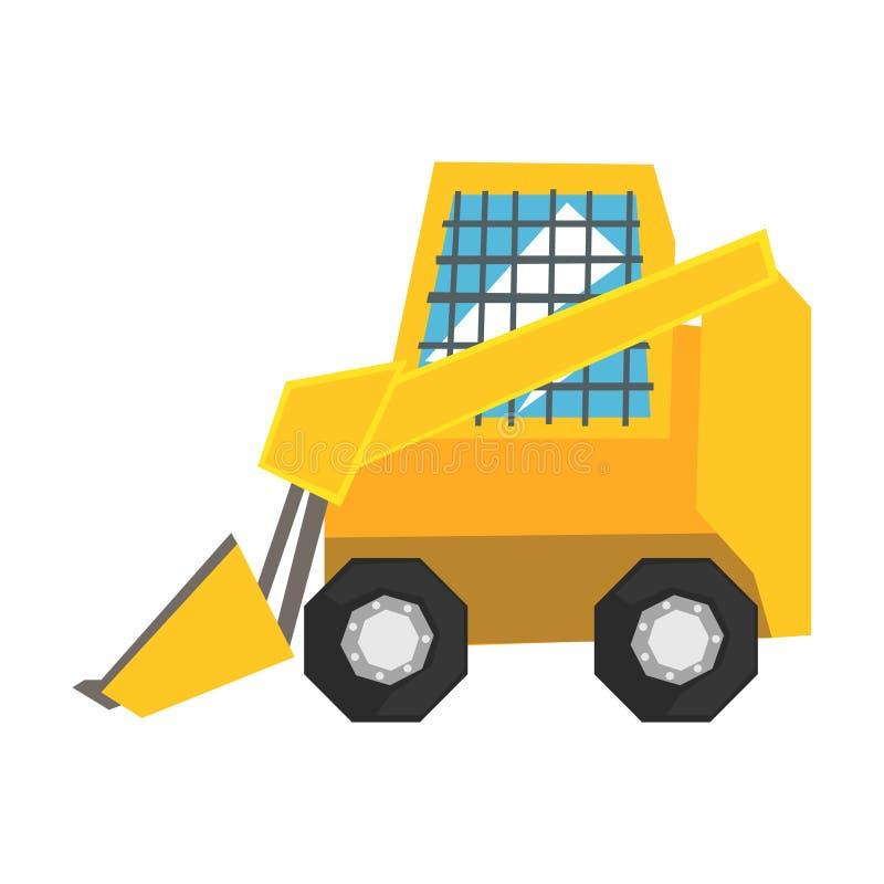 有被保护的窗口的微型推土机,滑行装载者传染媒介例证 库存例证