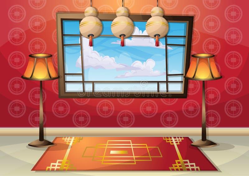 有被分离的层数的动画片传染媒介例证内部中国室 库存例证