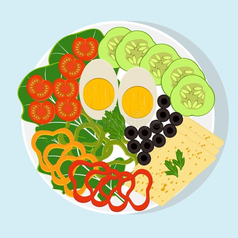 有被切的菜、煮沸的鸡蛋和乳酪的白色板材 蕃茄,黄瓜,胡椒,橄榄,莴苣,绿色 健康食品, veg 皇族释放例证