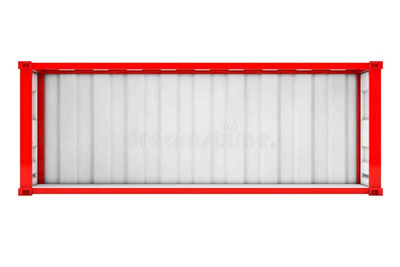 有被去除的侧面墙的空的红色运输货柜 3D renderin 库存例证