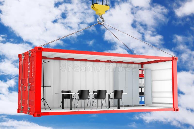 有被去除的侧面墙的红色货运容器转换了成办公室在有起重机勾子的运输时 3d翻译 库存例证