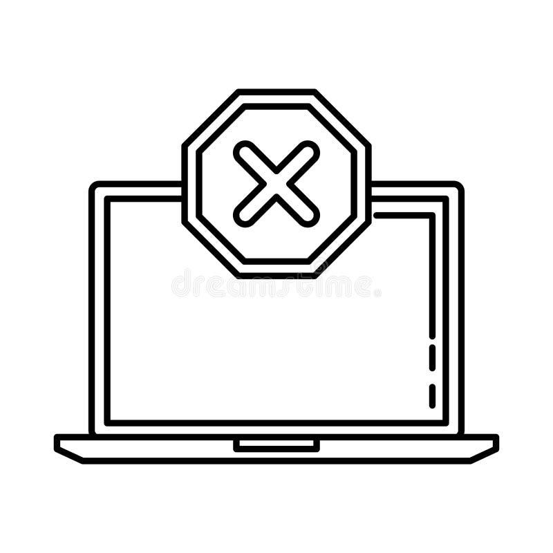 有被否认的标记象的膝上型计算机 向量例证