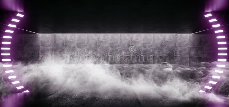 有被带领的白光的烟霓虹发光的曲拱门紫色难看的东西具体明亮的科学幻想小说现代空的霍尔车库隧道走廊 向量例证